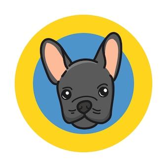 Bulldog français mignon avec une couleur noire de laine sur un cercle jaune et bleu.