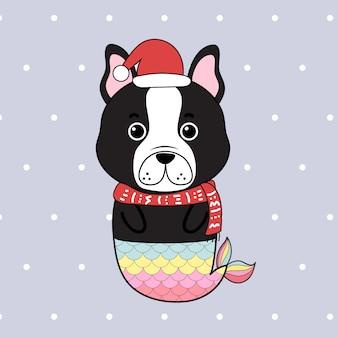 Bulldog français sirène dessin animé mignon dessinés à la main.
