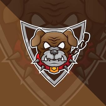 Bulldog head esport mascot logo pour le jeu esport et le vecteur gratuit premium de sport