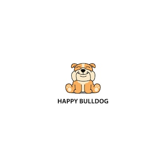 Bulldog heureux assis icône de dessin animé