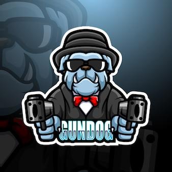 Bulldog mafia mascotte esport logo illustration