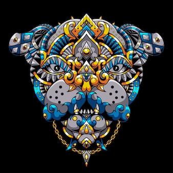 Bulldog mandala zentangle illustration et conception de tshirt premium
