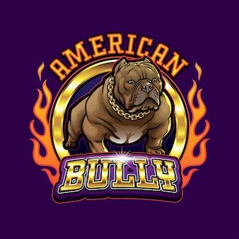 Bulldog mascotte logo bully américain