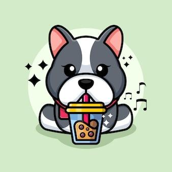 Bulldog mignon buvant un dessin animé de thé au lait boba
