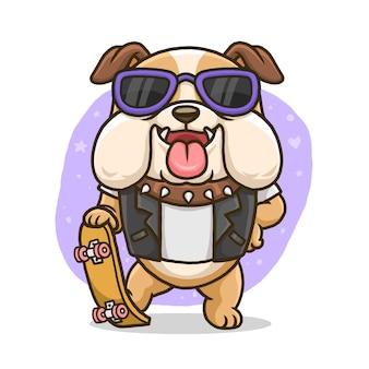 Bulldog mignon avec planche à roulettes isolé sur fond blanc