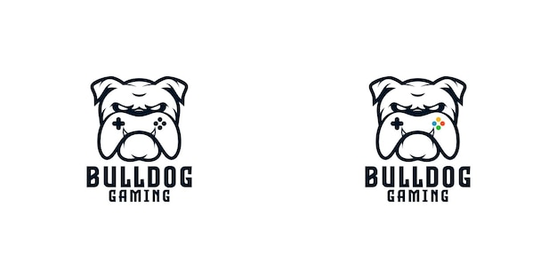 Bulldog avec modèle de conception de logo de contrôleur de jeu