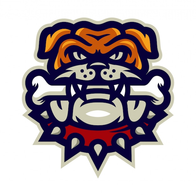 Bulldog morsure osseuse mascotte logo illustration vectorielle