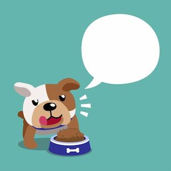Bulldog de personnage de dessin animé et bulle de dialogue