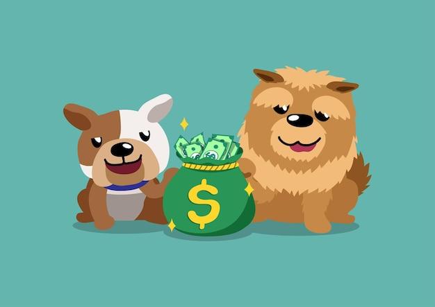 Bulldog de personnage de dessin animé et chien chow chow avec sac d'argent