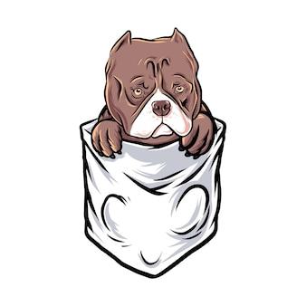 Bulldog Pocket Drôle Vecteur Premium