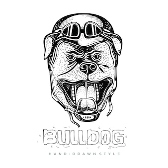 Bulldog portant des casques, illustrations d'animaux dessinés à la main