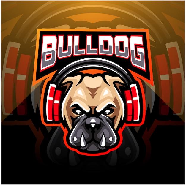 Bulldog portant des écouteurs logo mascotte esport