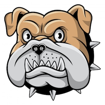 Bulldog tête illustration vectorielle de mascotte