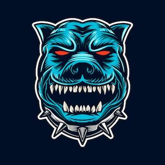 Bulldog tête vector illustration visage en colère