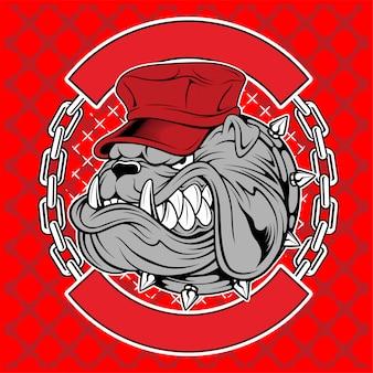 Bulldogs portent des casquettes et des chaînes à la main, dessin vectoriel