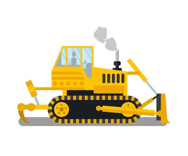 Bulldozer, illustration de couleur plat génie civil