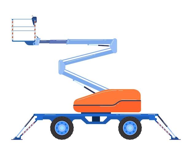 Bulldozer industriel de voiture de chariot élévateur dans un style plat