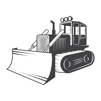 De bulldozer. noir et blanc