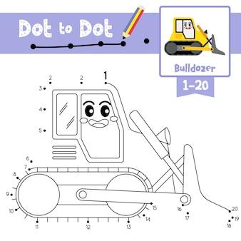 Bulldozer point à point jeu et livre de coloriage