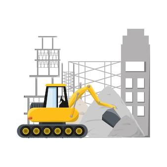 Bulldozer sous le concept de construction