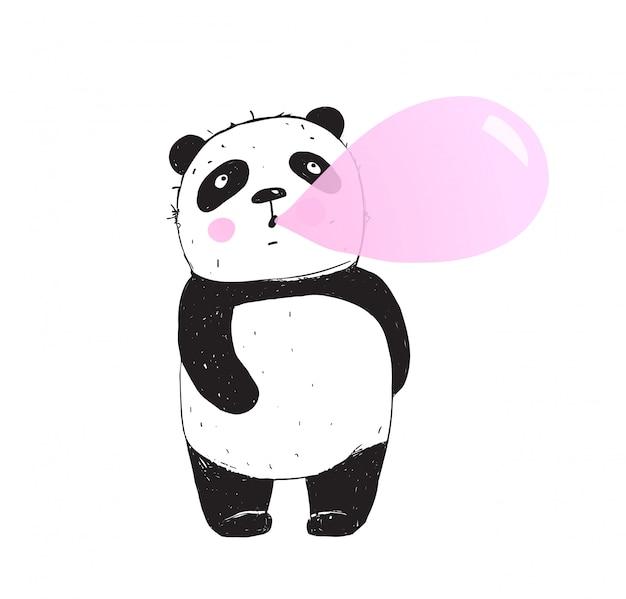 Bulle de chewing-gum drôle de panda