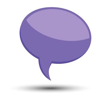 Bulle de dialogue de ballon comique de dessin animé violet sans phrases et avec ombre. illustration vectorielle.