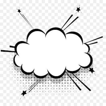 Bulle de dialogue de bandes dessinées pour la conception de texte pop art. nuage de dialogue vide blanc pour l'ombre en demi-teinte du message texte. bandes dessinées croquis style de texte de bande dessinée splash explosion. éléments de vecteur de dessin animé effet wow