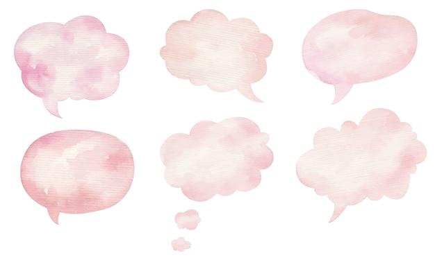 Bulle de dialogue, bulles blanches aquarelle rose sur fond blanc