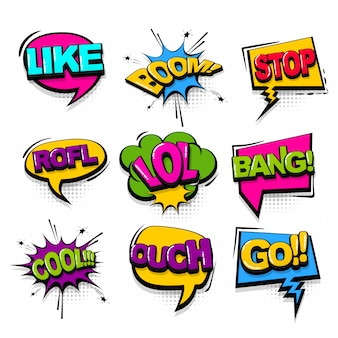 Bulle de dialogue collection de texte comique dans un style pop art.