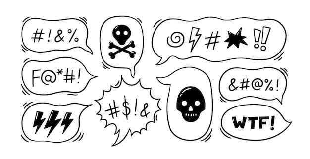 Bulle de dialogue comique avec des symboles de jurons. bulle de dialogue dessinée à la main avec malédictions, éclairs, crâne, bombe et os. illustration vectorielle isolée dans un style doodle sur fond blanc.
