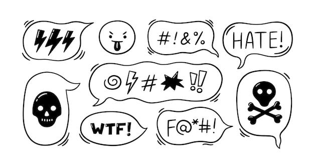 Bulle de dialogue comique avec des symboles de jurons. bulle de dialogue dessinée à la main avec malédictions, foudre, crâne, bombe, os. emoji visage en colère. illustration vectorielle isolée dans un style doodle sur fond blanc