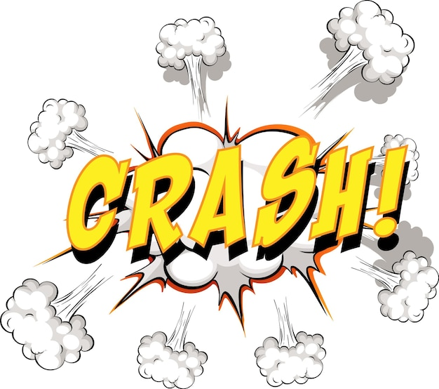 Bulle de dialogue comique avec texte de crash