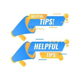 Bulle de dialogue de conseils utiles avec badge mégaphone