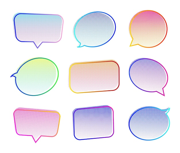 Bulle de dialogue définie fond demi-teinte couleur néon pour illustration vectorielle de message de communication de chat