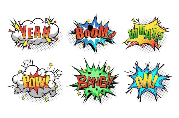 Bulle de dialogue de dessin animé avec la phrase boom, ouais, quoi, pow, bang, oh