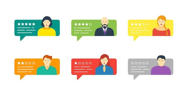 Bulle de dialogue de discussion avec des avatars masculins et féminins. examinez le système de notation cinq étoiles avec une bonne et une mauvaise collecte de taux de témoignage. concept d'illustration d'évaluation de qualité vectorielle