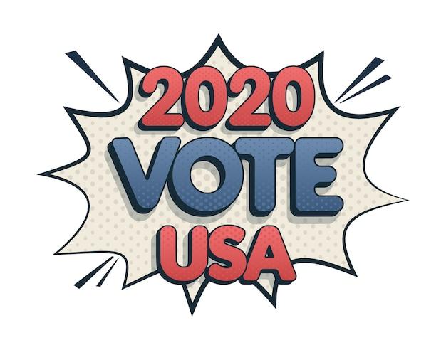 Bulle de dialogue effet sonore comique. élection présidentielle aux états-unis. jour du vote.