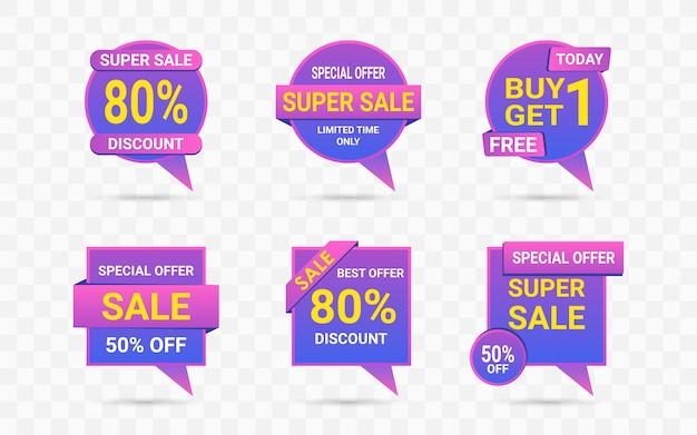Bulle de dialogue étiquette de vente dans un jeu de couleurs néon