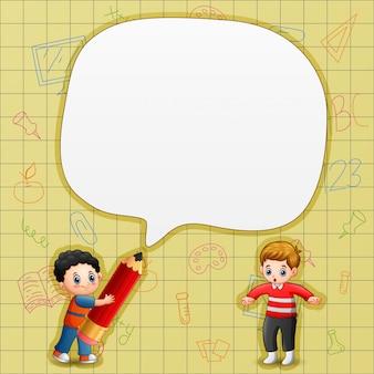 Bulle de dialogue avec les garçons et fond jaune
