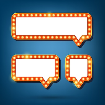 Bulle de dialogue avec illustration de cadres lumineux rétro