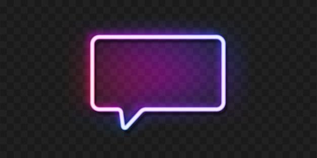 Bulle de dialogue néon sur fond transparent.