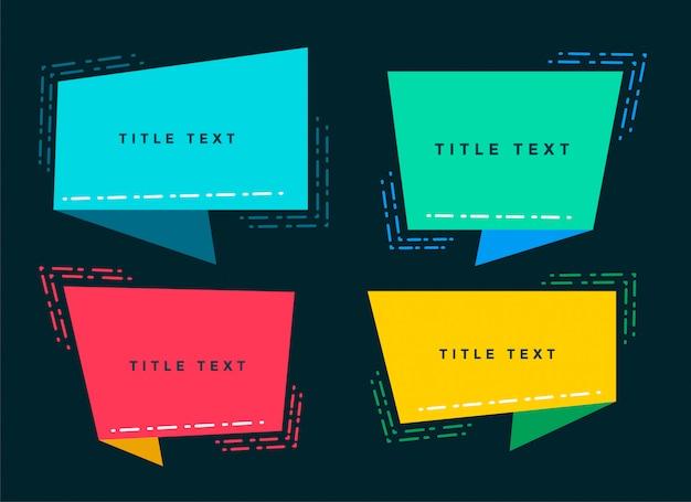 Bulle de dialogue origami abstrait avec espace de texte