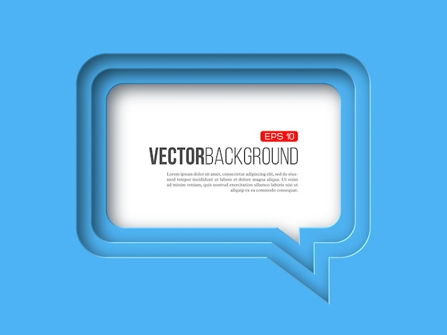 Bulle de dialogue papier 3d sur bleu avec effet en couches avec ombre.