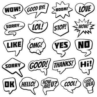 Bulle de dialogue vintage avec collection de bandes dessinées de mots de dialogue chat internet