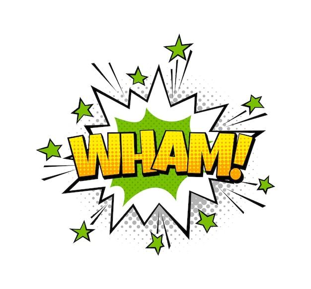Bulle de dialogue wham. ballon de pop art vectoriel avec effet de bang boom ou d'explosion et texte soumd de la bande dessinée d'art