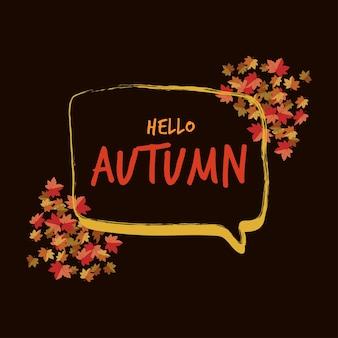 Bulle discours automne mot et fond de feuille d'érable