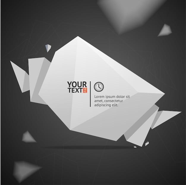 Bulle de discours de texte géométrique. bulle blanche origami isolée sur fond noir.