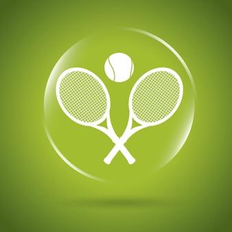 Bulle d'icône de tennis au cours de l'illustration vectorielle backgroun vert