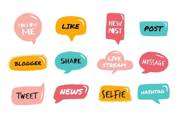 Bulles d'argot des médias sociaux