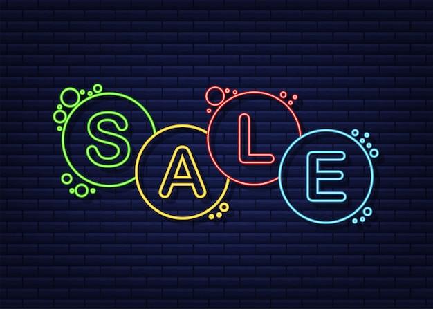 Bulles au néon avec texte vente icône néon étiquette d'autocollant de symbole étiquette d'offre spéciale
